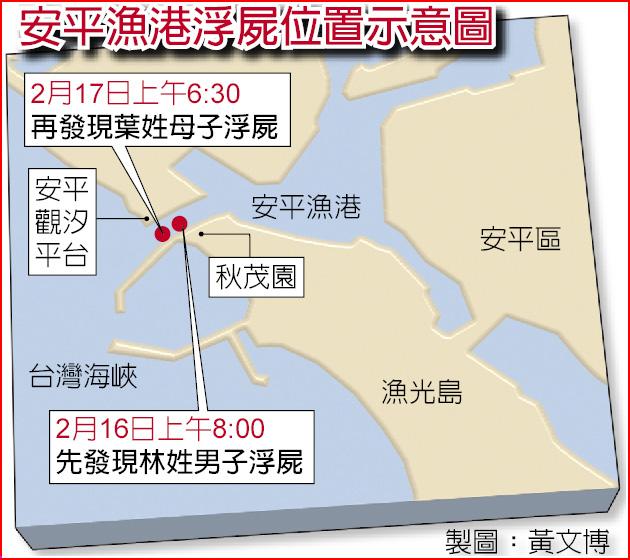 安平漁港浮屍位置示意圖