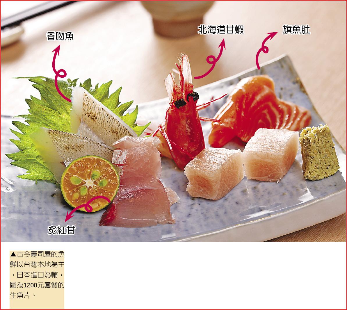▲古今壽司屋的魚鮮以台灣本地為主,日本進口為輔,圖為1200元套餐的生魚片。鄧博仁/攝影