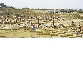 南部科學園區的考古遺址挖掘。(樹谷文化基金會提供)