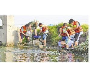 成龍國小學童成立「成龍溼地偵探社」,化身小偵探與老師進行生態調查。(本報資料照片/張朝欣攝)