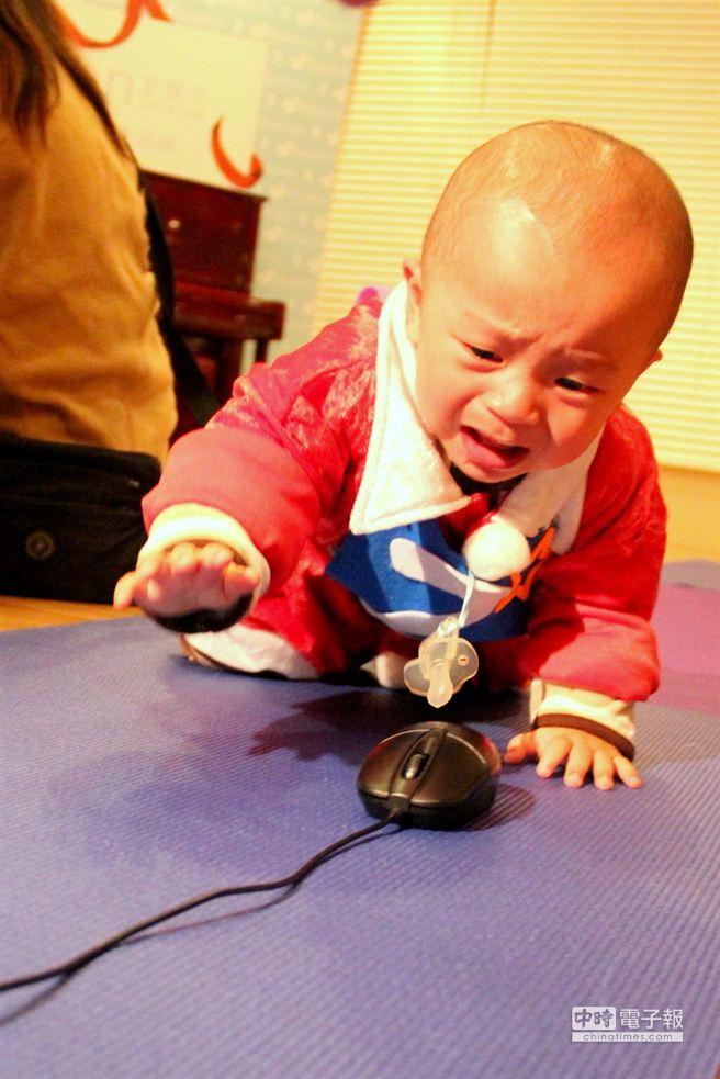 蘆洲愛麗生婦產科22日舉辦「寶寶爬行運動會」,有家長拿出滑鼠引誘寶寶向前爬行。(謝文瑄攝)