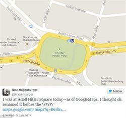 赫茲廣場誤標成希特勒廣場 谷歌道歉