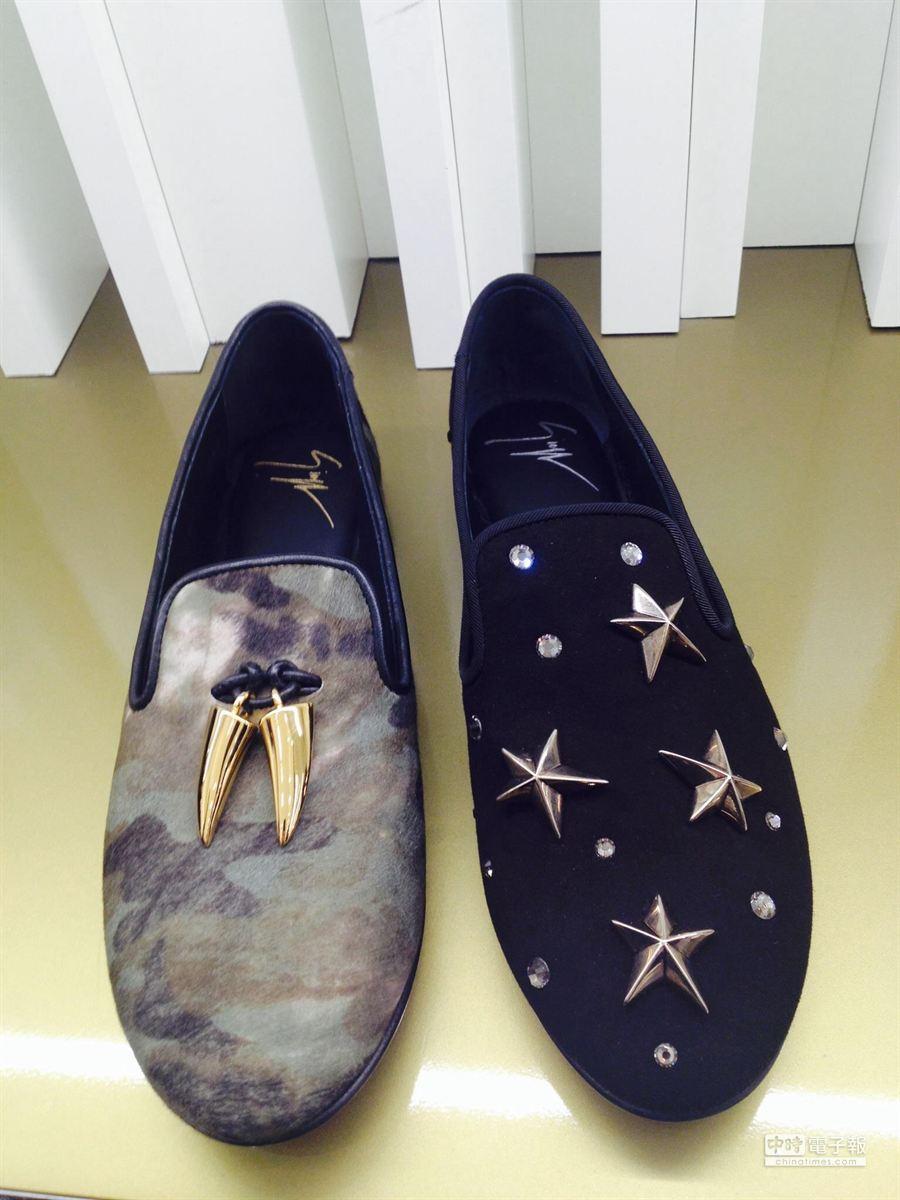 GIUSEPPE ZANOTTI DESIGN早春迷彩馬毛樂福鞋有金屬獠牙3萬4800元(左),麂皮樂福鞋有金屬星星3萬9800元。(郭家崴攝影)