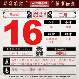 《農民曆小幫手》國曆三月十六日