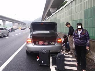 韓客趕飛機遇爆胎 國道警護送