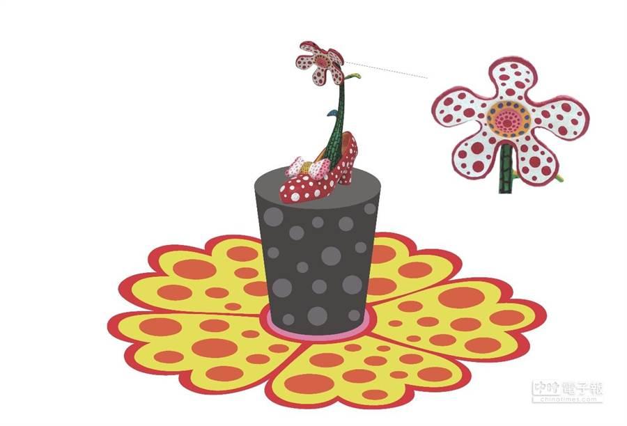 新員林車站特別請到國際知名藝術大師草間彌生,為站前廣場設計1座公共藝術作品,營造戀愛氛圍。(鐵工局提供)
