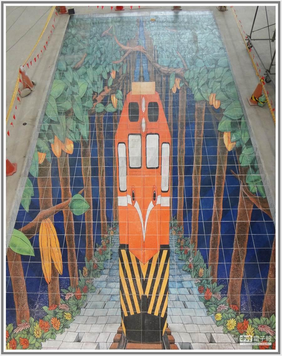 新員林車站內已完成「迎向希望」3D立體地畫。(鐵工局提供)