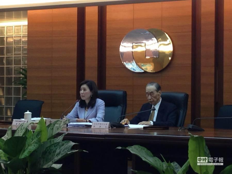 銀行公會理事長李紀珠(左)、常務理事汪國華(右)兩人出面代表銀行公會全體會員銀行力挺服貿協議,發出三點聲明。(孫彬訓攝)