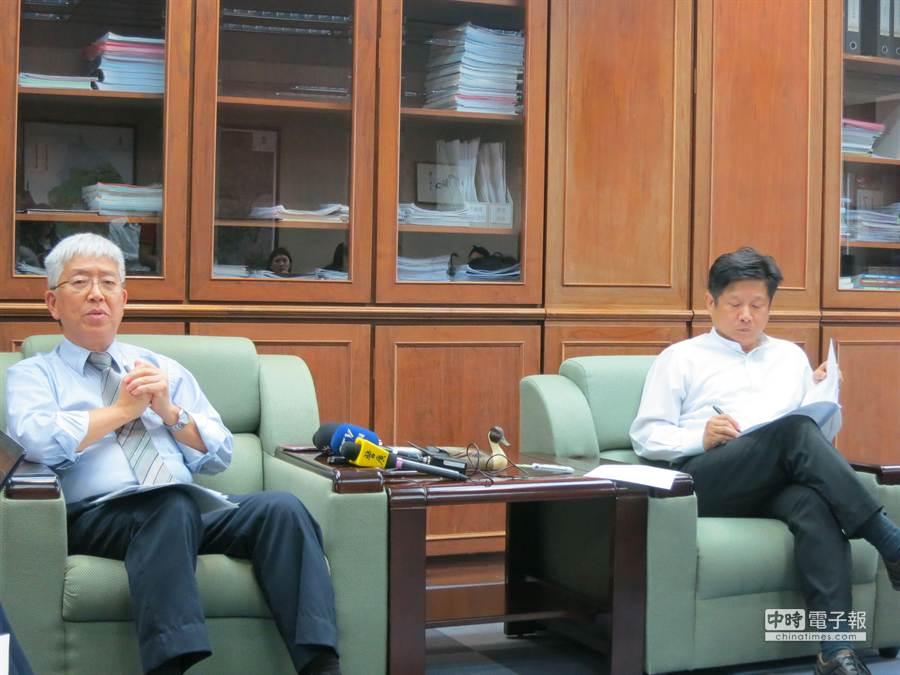 張金鶚(左)下午召開記者會,說明對《都市更新條例》修法的憂慮。(邱文秀攝)