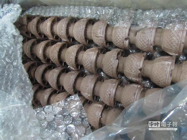 從韓國進口的冰淇淋甜筒被檢出含甜味劑糖精0.07g/kg,共66公斤違規產品已全數退回韓國銷毀。(食藥署提供)