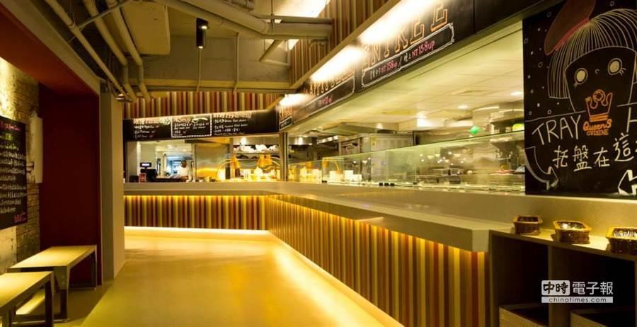 占地百坪的美式餐廳,讓客人自行到取餐區取食,離場時再結帳(圖/業者提供)