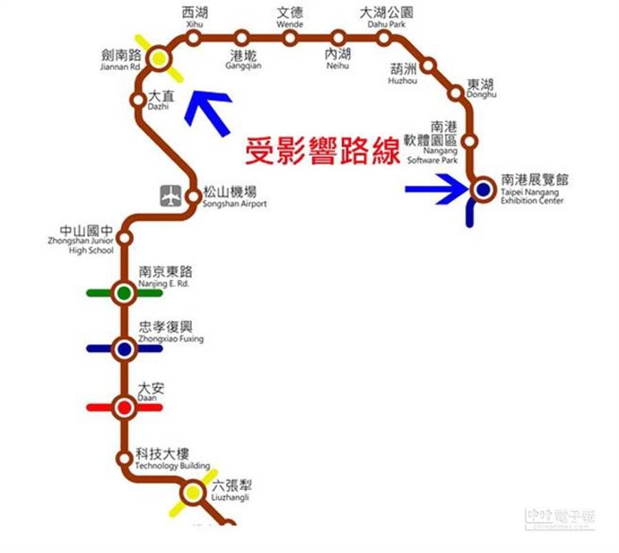 捷運文湖線上午發生設備故障,從劍南站到南港展覽館區段停駛。(原圖取自捷運公司)
