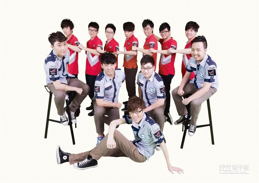 華碩ROG玩家共和國贊助《英雄聯盟LoL》職業電競戰隊-台北暗殺星(後排)與台北狙擊者(前排)兩支隊伍競逐國際舞台。圖/華碩