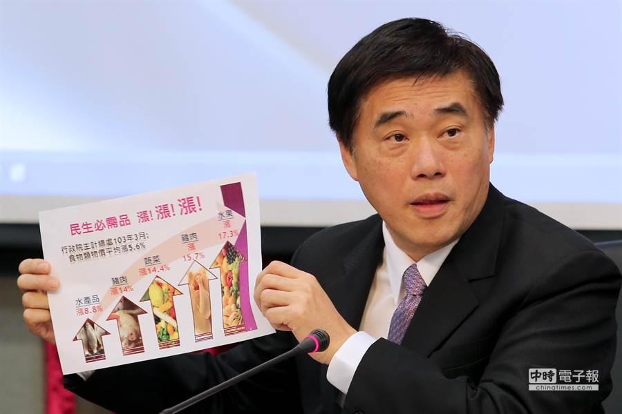 台北市長郝龍斌呼籲基本工資應一次調高到月薪2萬2639元。(黃世麒攝)