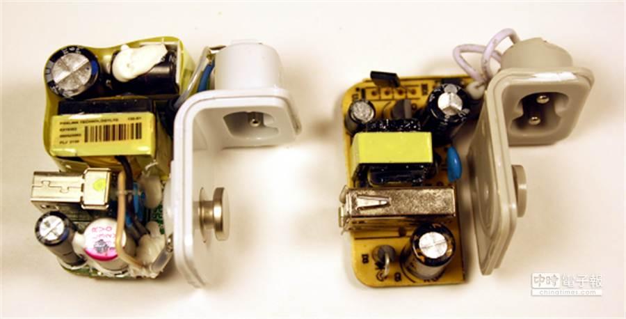 左為原廠、右為仿冒。拆開來看,品質高下立判,原廠擠滿了各式高品質電容器與變壓器等零件,而仿冒品不僅用料較差、IC的擺放也歪斜不正,絕緣設計看起也很簡陋。(圖/摘自Ken Shirriff's部落格)