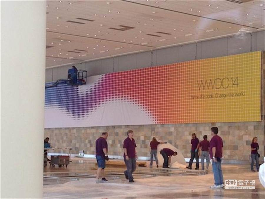 WWDC 14 現場已懸掛活動海報。(圖/威鋒網)