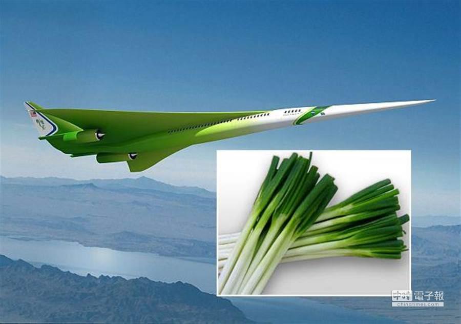 新一代超音速客機設計圖已曝光,外型修長配合綠色塗料,被網民戲稱像青蔥一樣。(圖/NASA)