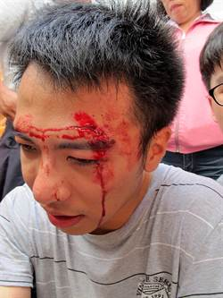 張志軍到高雄 學運成員抗議受傷