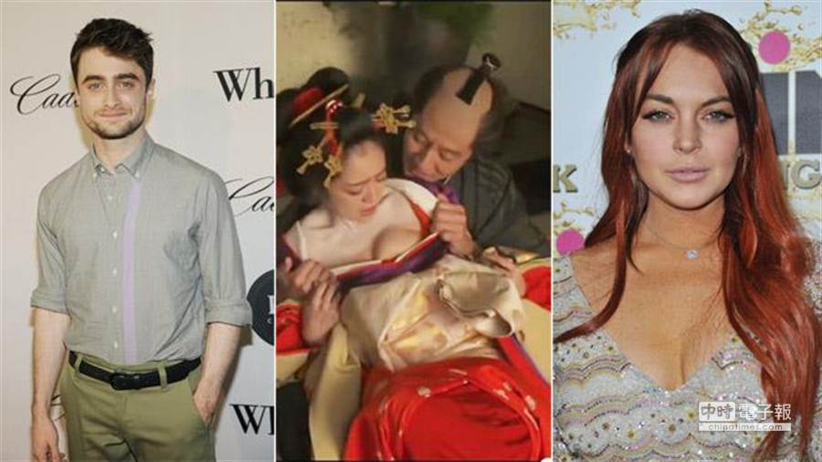 丹尼爾雷德克里夫(左起)、安達祐實與琳賽蘿涵,都是昔日著名童星,但長大後因裸露或脫序行為等原因,變成令大家驚訝的「脫」星。(美聯社資料照片,取材自Youtube)