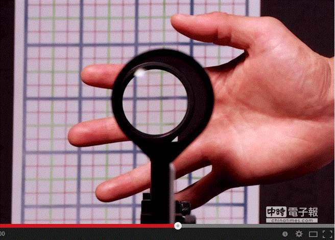 美國羅徹斯特大學科學家利用不同焦距的鏡頭,扭曲物體周圍的光線,讓鏡片後方的手成功隱形。(影片截圖)