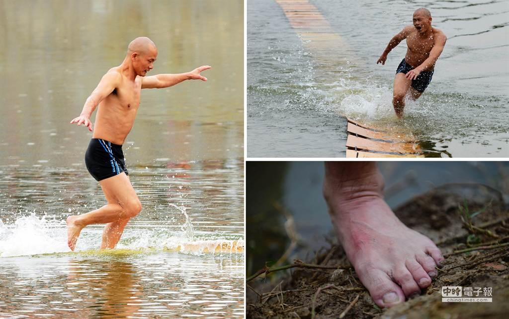 南少林武僧展示水上漂輕功。合併照片中,左為泉州少林寺武僧釋理亮,右上是在表演前熱身失敗的瞬間,另外右下是釋理亮的腳部特寫。(新華社)