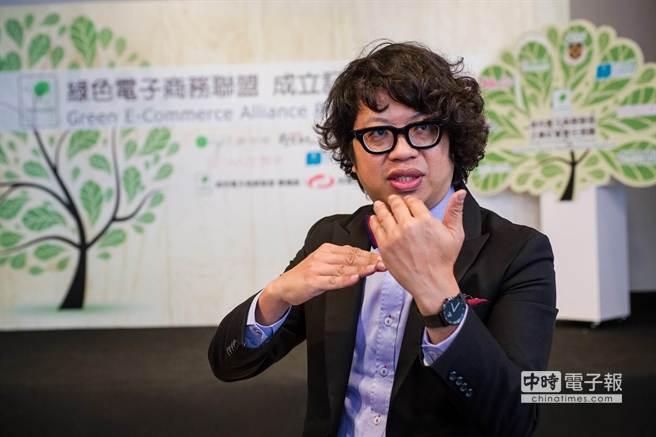 圖為綠色電子商務聯盟發起人歐萊德董事長葛望平(見圖)。(郭吉銓攝)