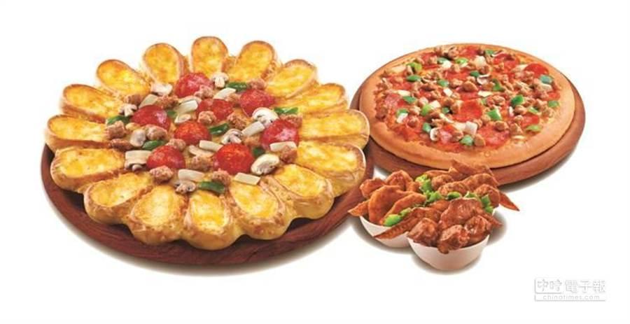 必勝客心花漾歡聚套餐︰兩個大比薩,其中一個升級起司七重奏心花漾餅皮,搭配樂透三星彩及1.25L可樂,1099元。(業者提供)
