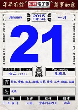 《農民曆小幫手》國曆一月二十一日