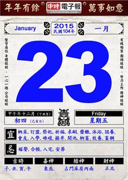 《農民曆小幫手》國曆一月二十三日