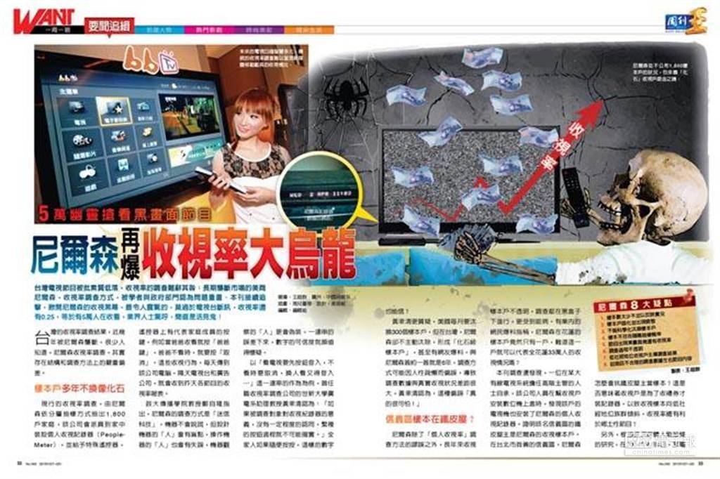 台灣的收視率調查結果,近幾年被尼爾森壟斷,很少人知道,尼爾森收視率調查,其實存在結構和調查方法上的嚴重偏差。(周刊王提供)