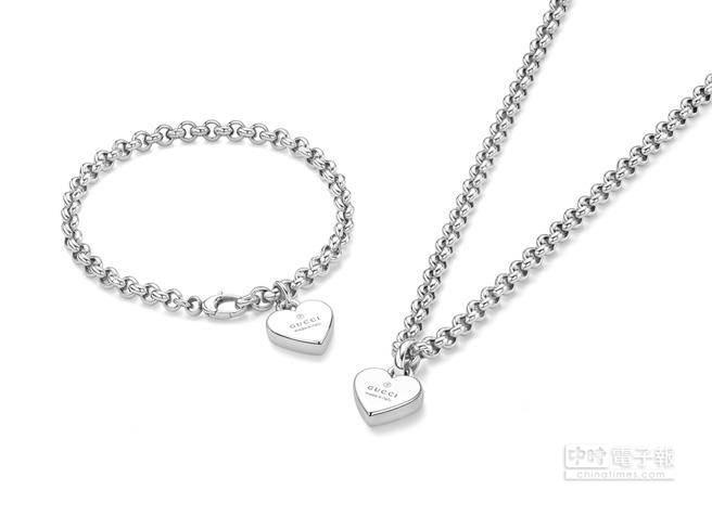 GUCCI Trademark愛心純銀鍍銠項鍊,建議售價11,900元。愛心純銀鍍銠手鍊,建議售價9,000元。每一款均刻有特色鮮明的「Gucci Made in Italy」標誌,多變的美學設計,可每天搭配不同風格,成為各種女性珠寶系列的迷人點綴。
