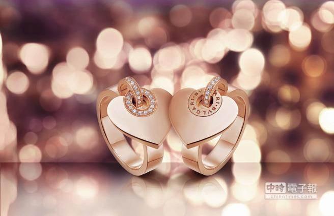 BVLGARI BVLGARI CUORELGARI CUORE玫瑰金鑲鑽戒指,售價約新台幣94,700元。Cuore是義大利文「心」的意思,可「翻面」戒指,讓心型設計更為鮮活靈動。