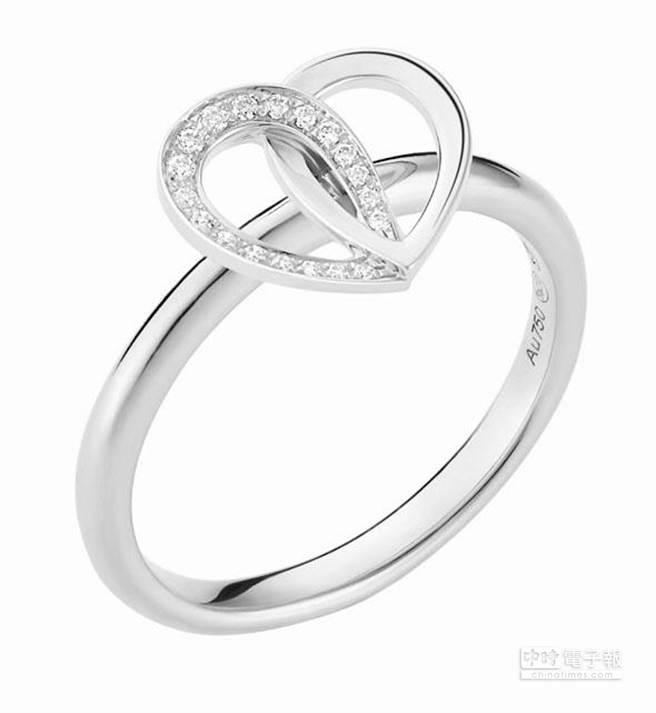 萬寶龍摯愛系列白金鑲鑽戒指,建議售價61,400元。