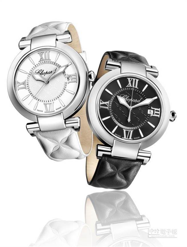 蕭邦Imperiale黑與白對錶(40 mm),精鋼錶殼搭載自動上鍊機芯,時間與日期指示,動力儲存60小時,搭配黑色或白色提花凸紋小牛皮錶帶,建議售價各為217,000元。