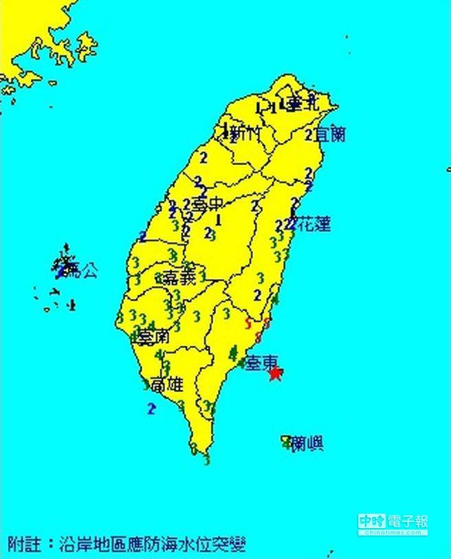 凌晨強震,不少台東民眾被搖醒後,奪門而逃。(翻攝自中央氣象局)