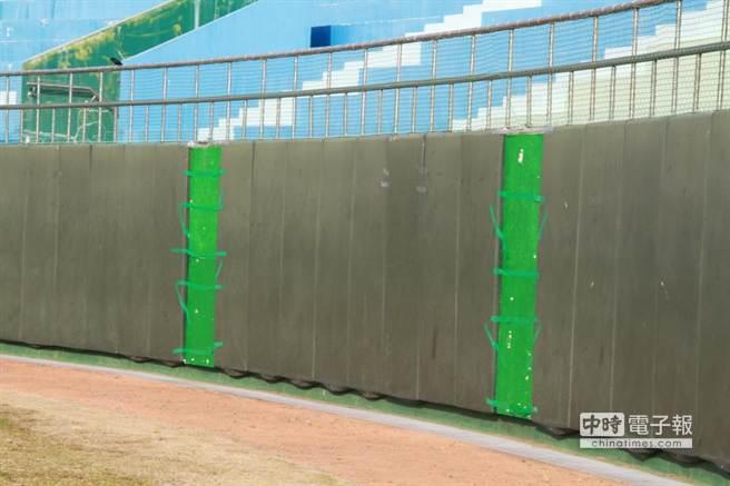 嘉義縣立棒球場全壘打牆。(呂妍庭攝)