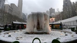 寒流襲紐約 噴泉變冰雕