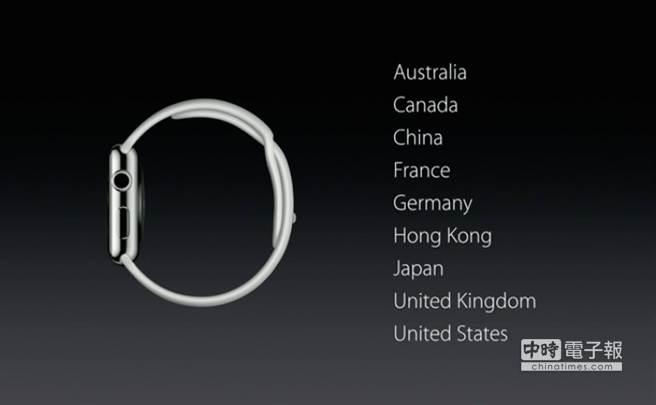 Apple Watch首波上市9地區。(摘自Apple.com)