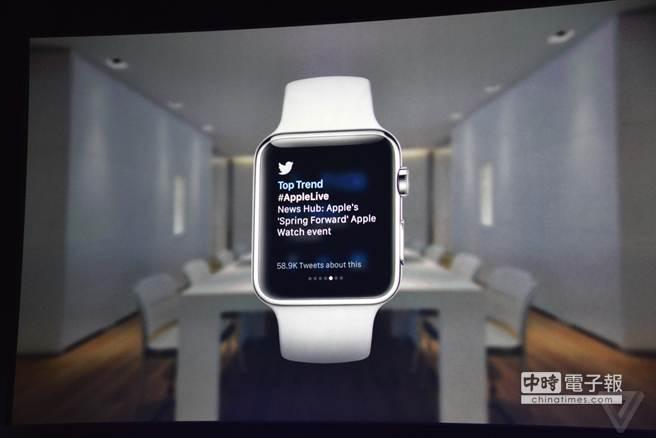 蘋果春季發表會上出現的Apple Watch App—Twitter。(圖/The Verge)