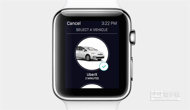 蘋果春季發表會上出現的Apple Watch App—Uber。(圖/The Verge)