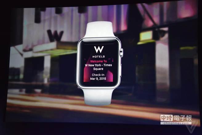 蘋果春季發表會上出現的Apple Watch App—W Hotel。(圖/The Verge)