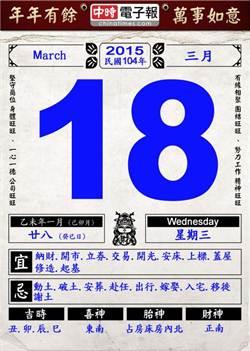【農民曆小幫手】國曆三月十八日