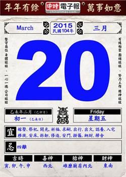 【農民曆小幫手】國曆三月二十日