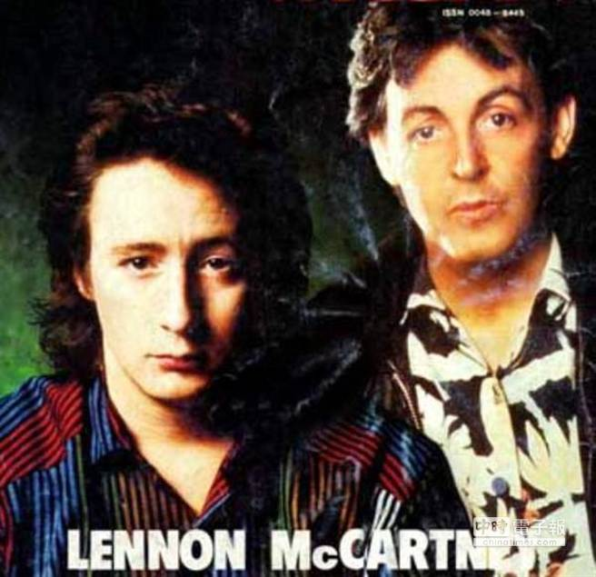 朱利安視保羅麥卡尼(右)為父,麥卡尼為安慰被父親拋棄的朱利安,為他寫了名曲「Hey Jude」,而朱利安成年後也踏入歌壇。(取材自a4.ec-images.myspacecdn.com)