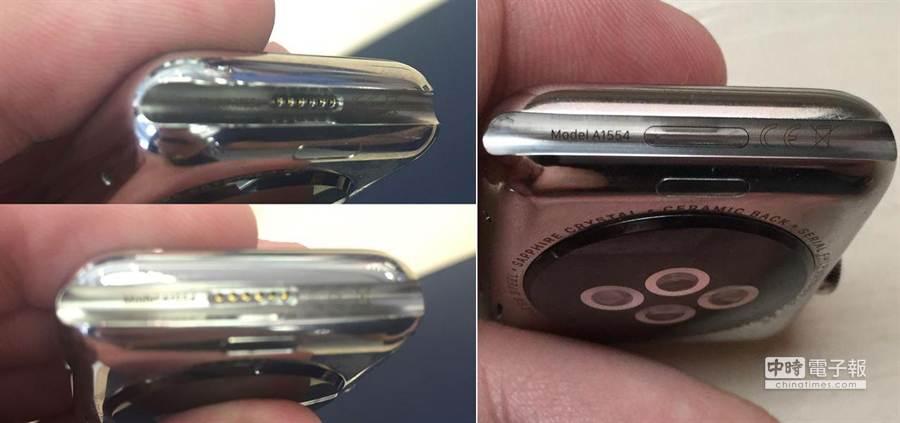 Apple Watch錶帶凹槽的金屬接點被發現仍舊存在,但是各版本情況有別,讓人對於它的功用感到更為好奇。(取自MacRumors與Twitter @John Gruber)
