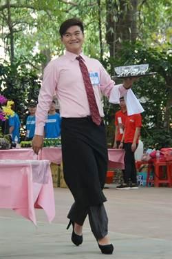五洲盃調酒賽 男選手穿高跟鞋比托盤