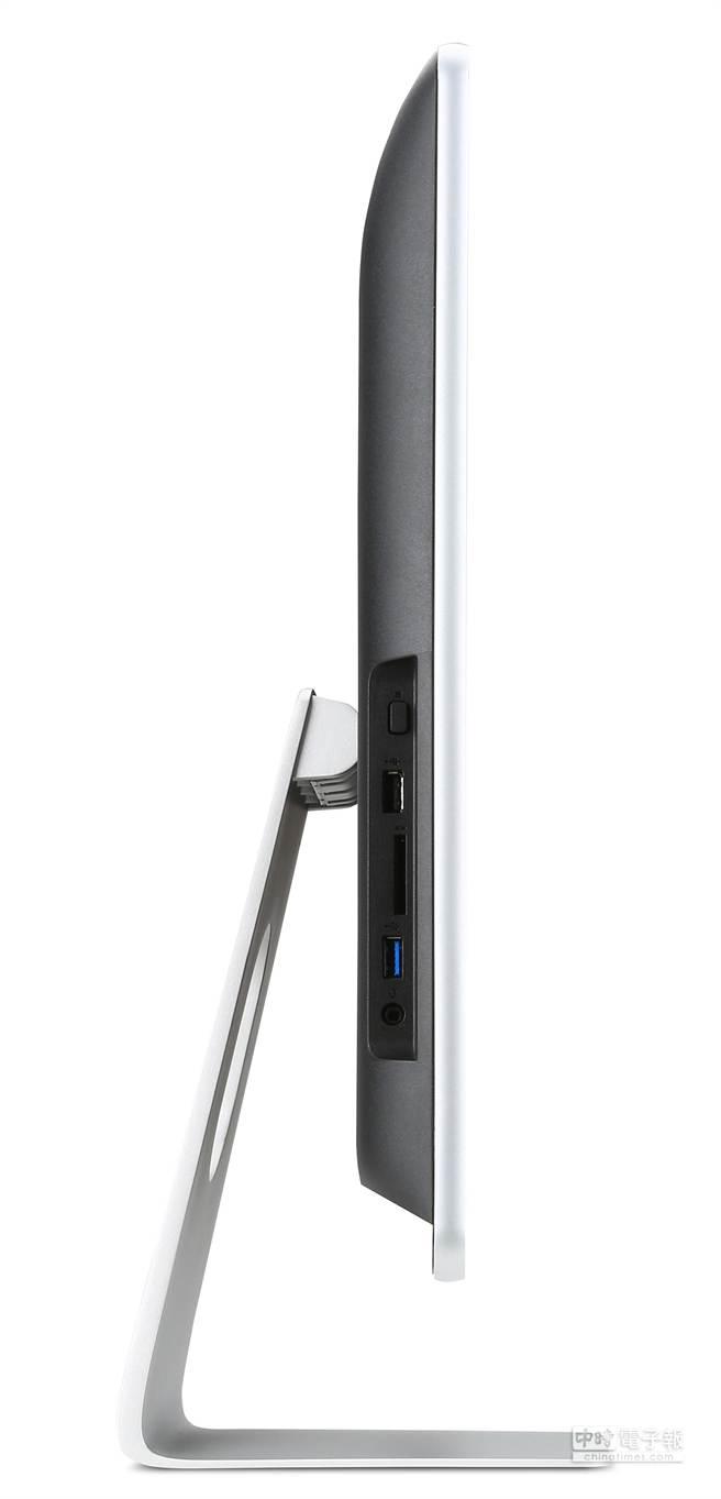 Aspire Z系列,外型俐落、配有優雅時尚的銀色腳座,可將各個輸入埠與線材簡潔的收納。(宏碁提供)