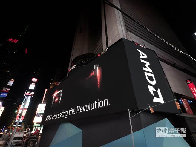 AMD揭露全球最大且技術最先進的螢幕牆之一,打造2400萬畫素與2.5萬平方呎的超臨場視覺震撼,點亮時代廣場。(AMD提供)