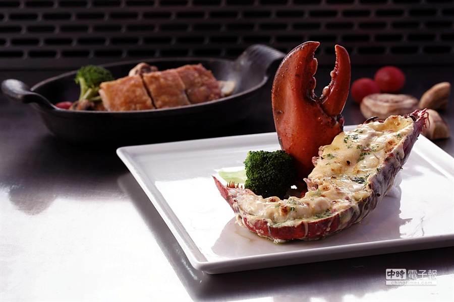 夏慕尼鐵板燒6月起推出波士頓龍蝦料理搭配里昂雞排主餐,食材升級、價格不變。(圖/夏慕尼鐵板燒)
