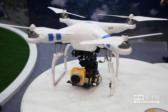 華晶科技在Computex展示Cubie Live搭配無人機的攝影解決方案。(黃慧雯攝)